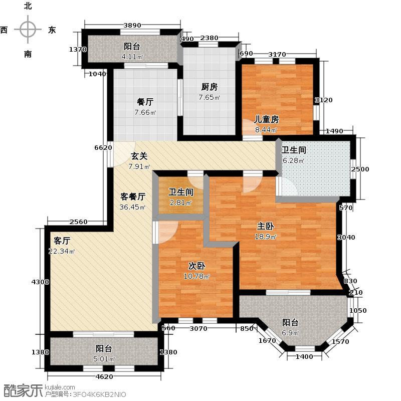 绿地大溪地128.19㎡D14-2户型3室2厅2卫