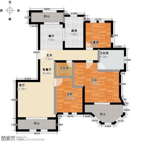 绿地大溪地3室1厅2卫1厨128.00㎡户型图