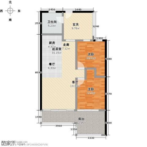 金祥・万卷山2室0厅1卫0厨87.00㎡户型图