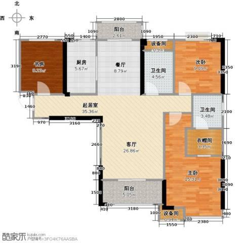中骏蓝湾香郡3室0厅2卫1厨108.00㎡户型图