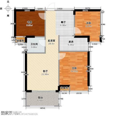 中骏蓝湾香郡3室0厅1卫1厨89.00㎡户型图