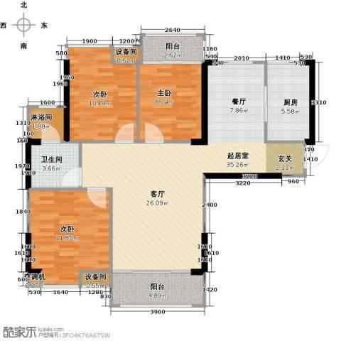 中骏蓝湾香郡3室0厅1卫1厨98.00㎡户型图