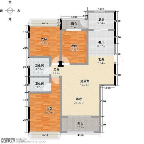 新桥头中心城3室0厅2卫1厨146.00㎡户型图