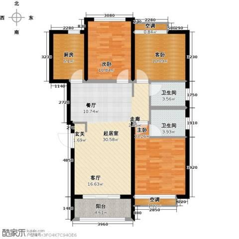 鑫苑世家3室0厅2卫1厨98.00㎡户型图