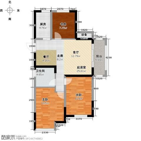 金科中心3室0厅1卫1厨90.00㎡户型图