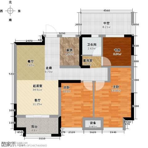 金科中心3室0厅1卫0厨93.00㎡户型图