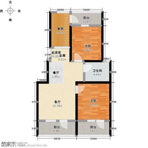 华新名筑2室0厅1卫1厨84.00㎡户型图
