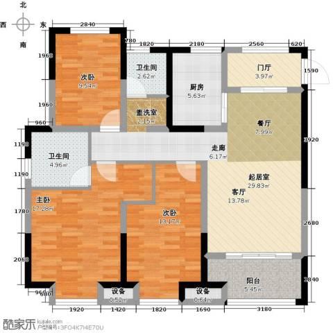 金科中心3室0厅2卫1厨115.00㎡户型图