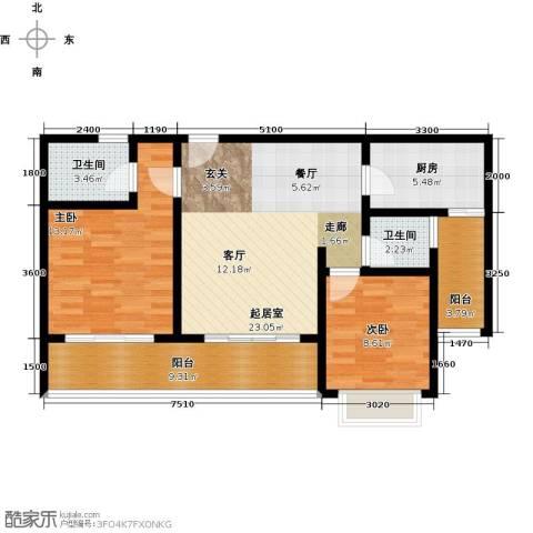 五指山・山水名城2室0厅2卫1厨86.00㎡户型图