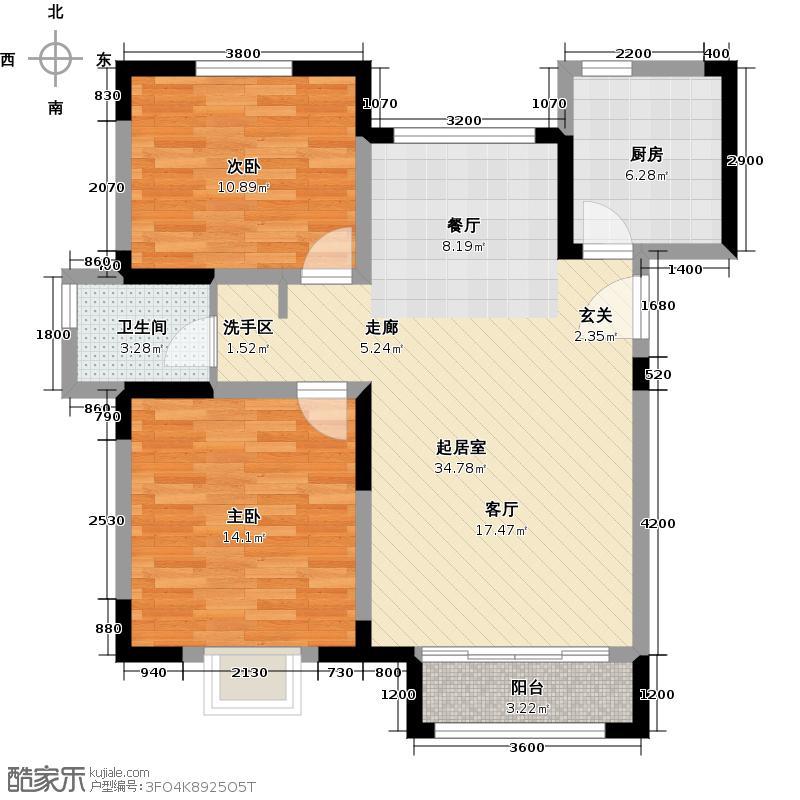中交上东湾107.00㎡标层A-01户型2室2厅1卫