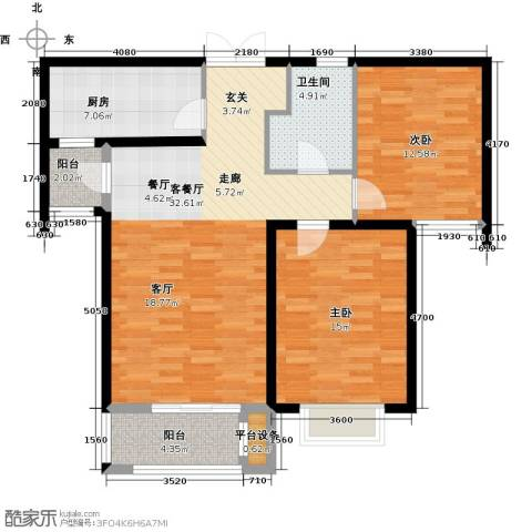 众美凤凰绿都2室1厅1卫1厨90.00㎡户型图