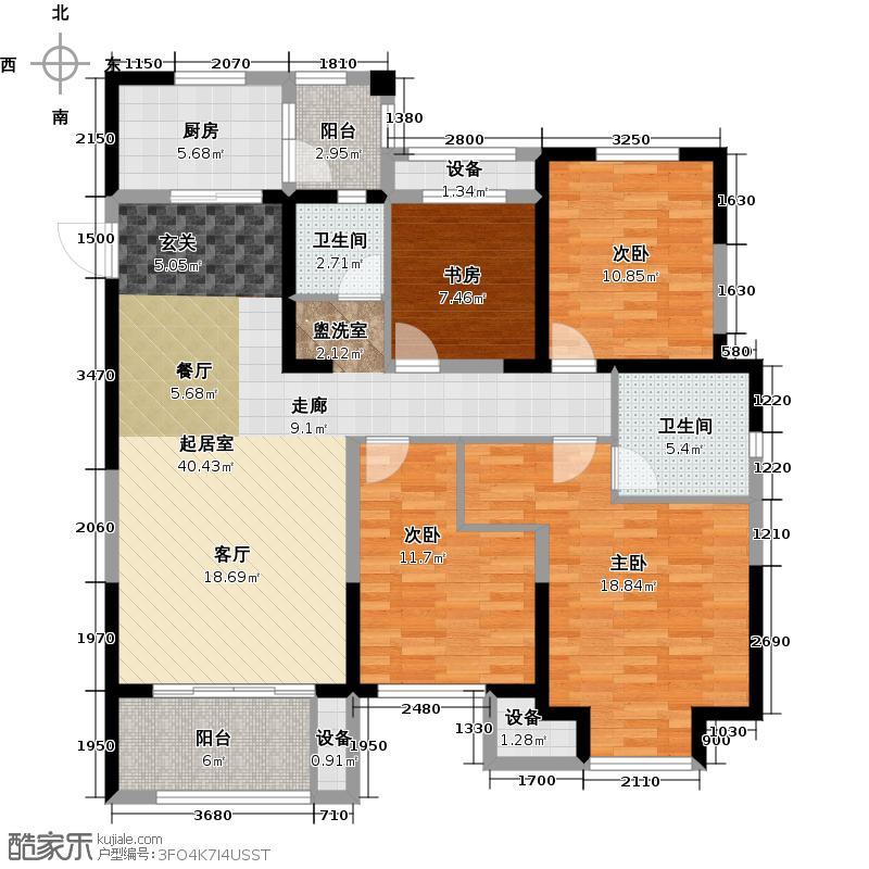 金科中心137.00㎡5幢A-1 边套户型4室2厅2卫