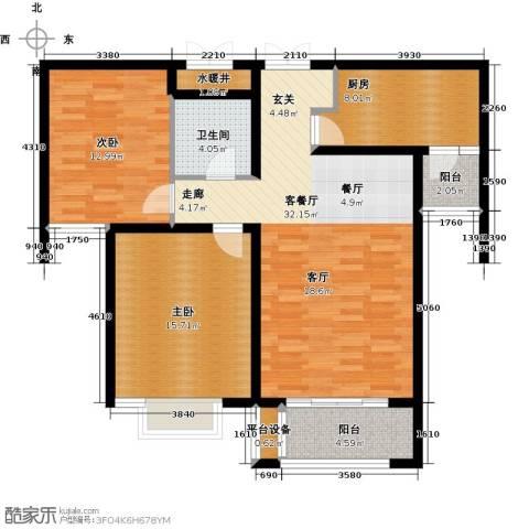 众美凤凰绿都2室1厅1卫1厨94.00㎡户型图