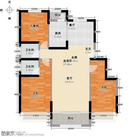 中铁诺德名苑3室0厅2卫1厨129.00㎡户型图