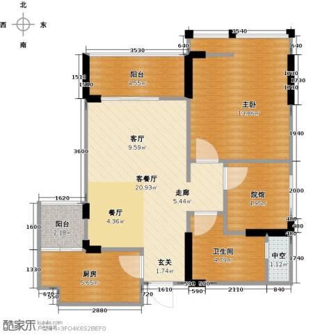 拓新御府1室1厅1卫1厨65.00㎡户型图