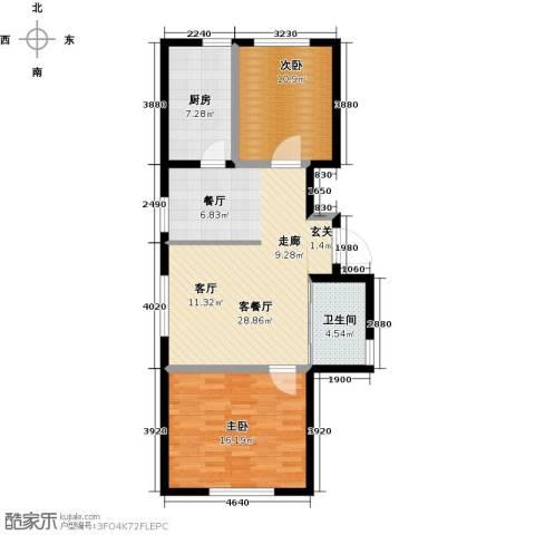 万家翔悦2室1厅1卫1厨77.00㎡户型图