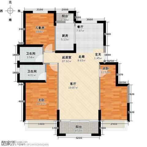 中铁诺德名苑3室0厅2卫1厨132.00㎡户型图