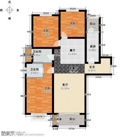 众美凤凰绿都3室1厅2卫1厨131.00㎡户型图