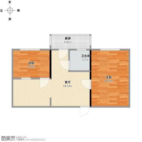 万和里2室1厅1卫1厨61.00㎡户型图