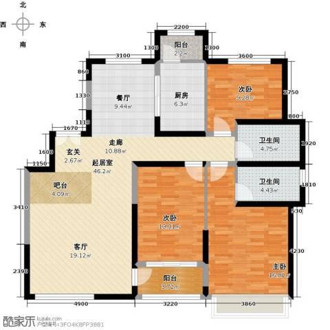 中铁诺德名苑3室0厅2卫1厨143.00㎡户型图