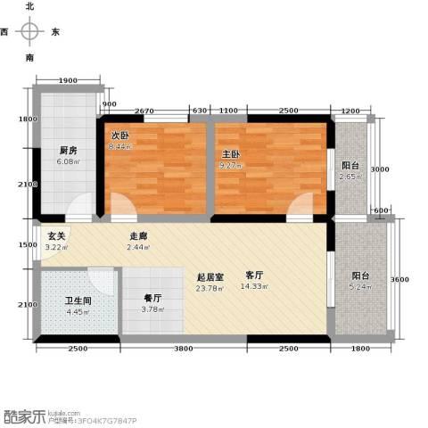 东城�景2室0厅1卫1厨86.00㎡户型图