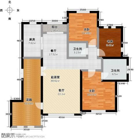 绿地大溪地3室0厅2卫1厨133.00㎡户型图