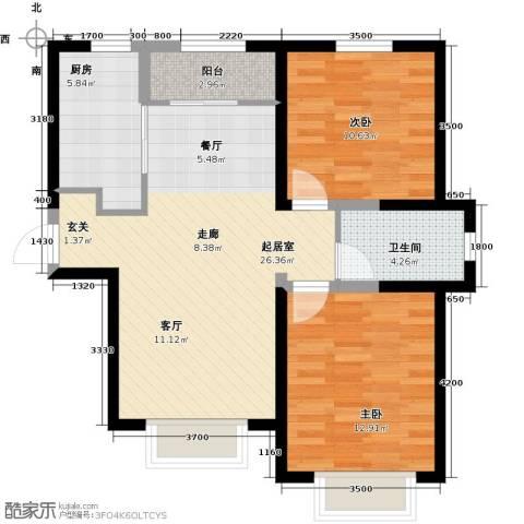 宜禾红橡公园2室0厅1卫1厨92.00㎡户型图