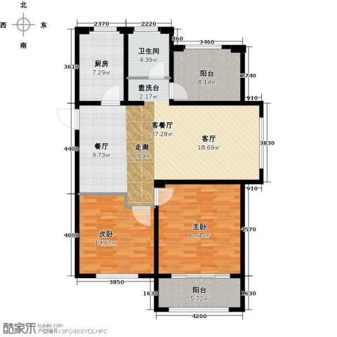 湖港名城2室1厅1卫1厨104.00㎡户型图