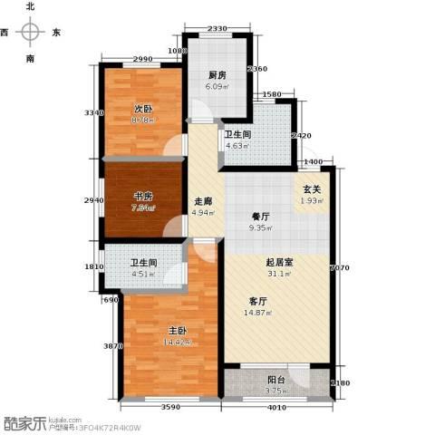 龙湖紫都城二期3室0厅2卫1厨115.00㎡户型图