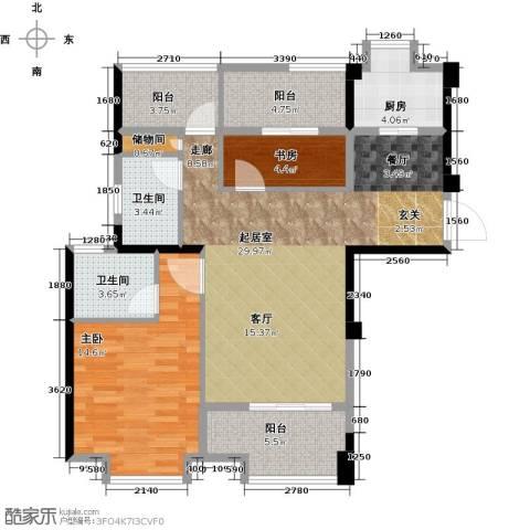 正荣・财富中心2室0厅2卫1厨107.00㎡户型图