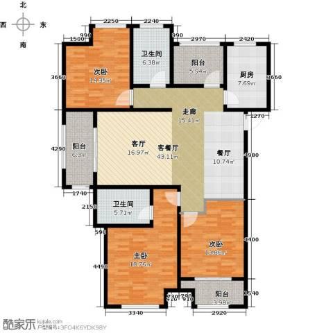 湖港名城3室1厅2卫1厨141.00㎡户型图
