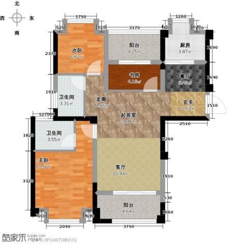 正荣・财富中心3室0厅2卫1厨89.00㎡户型图