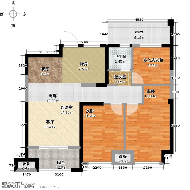金科中心89.00㎡5幢 A-2户型 三室两厅一卫户型3室2厅1卫