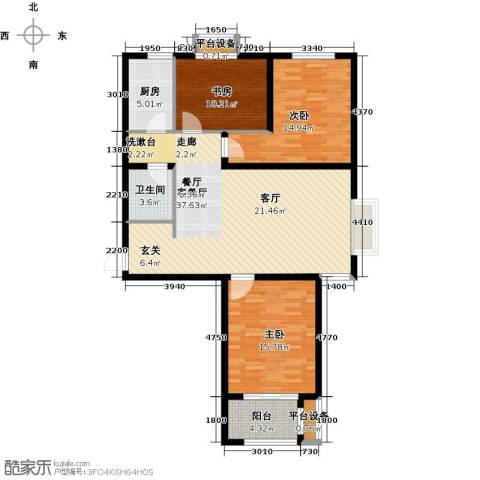 众美凤凰绿都3室1厅1卫1厨104.00㎡户型图