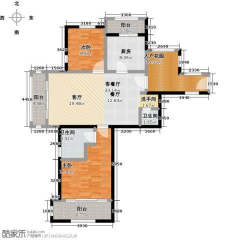 绿地大溪地2室1厅2卫1厨116.00㎡户型图