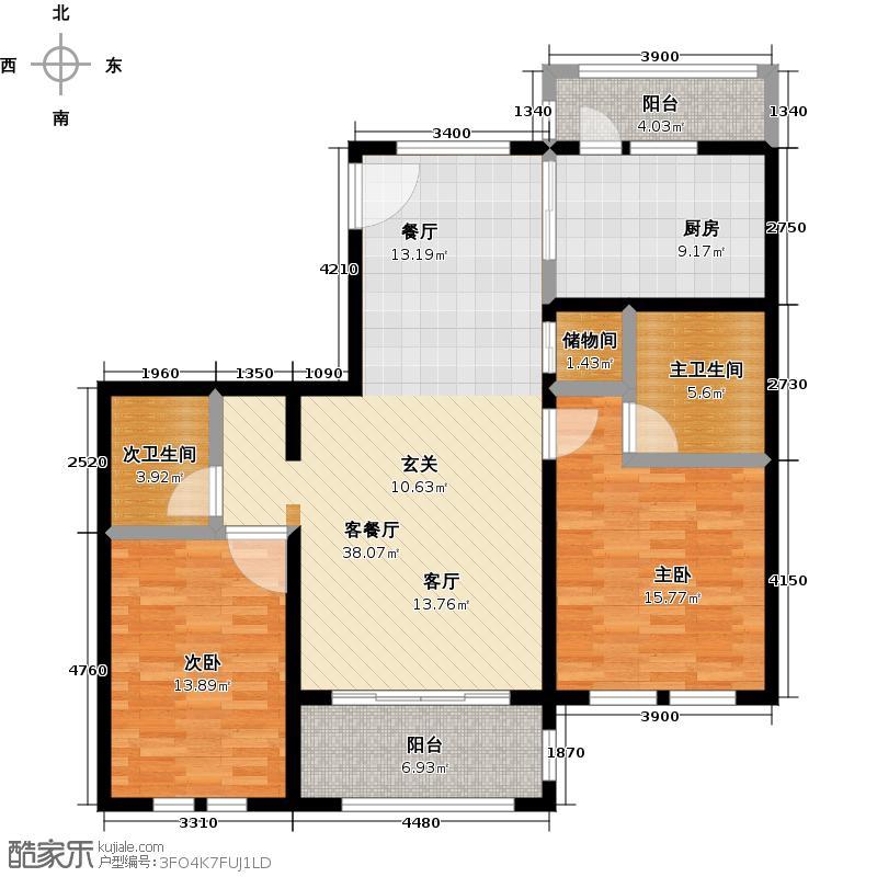 绿地大溪地113.84㎡二室二厅二卫户型2室2厅2卫