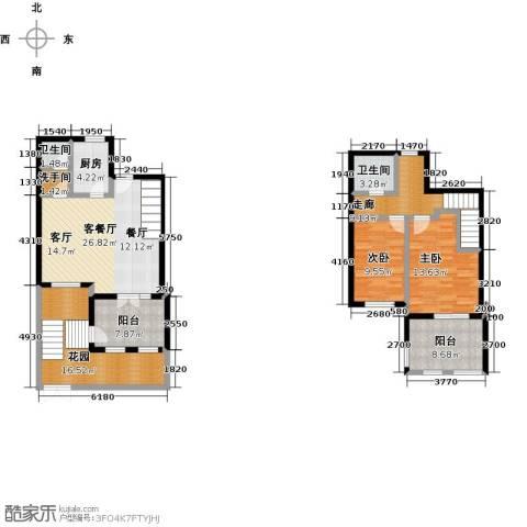 绿地大溪地2室1厅2卫1厨123.00㎡户型图