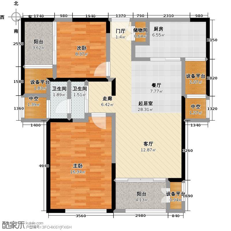 雨润城92.00㎡E2户型92平米户型2室2厅1卫