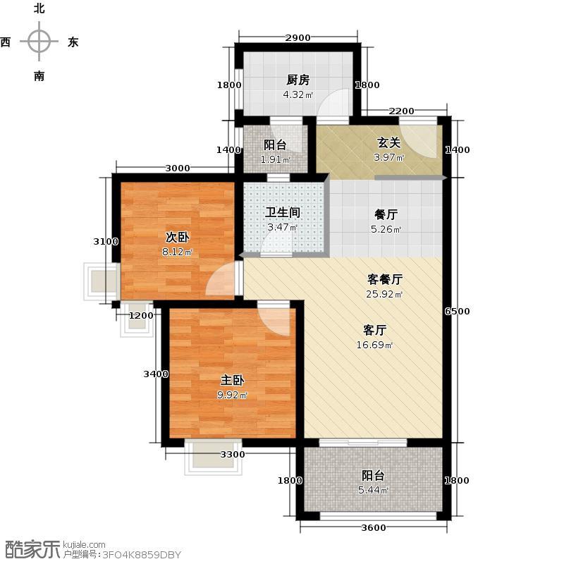 雄飞北尚广场79.00㎡1-2户型2室2厅1卫