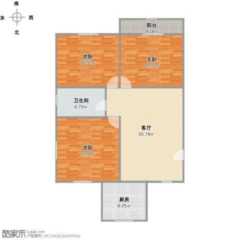 北中路280弄小区3室1厅1卫1厨135.00㎡户型图