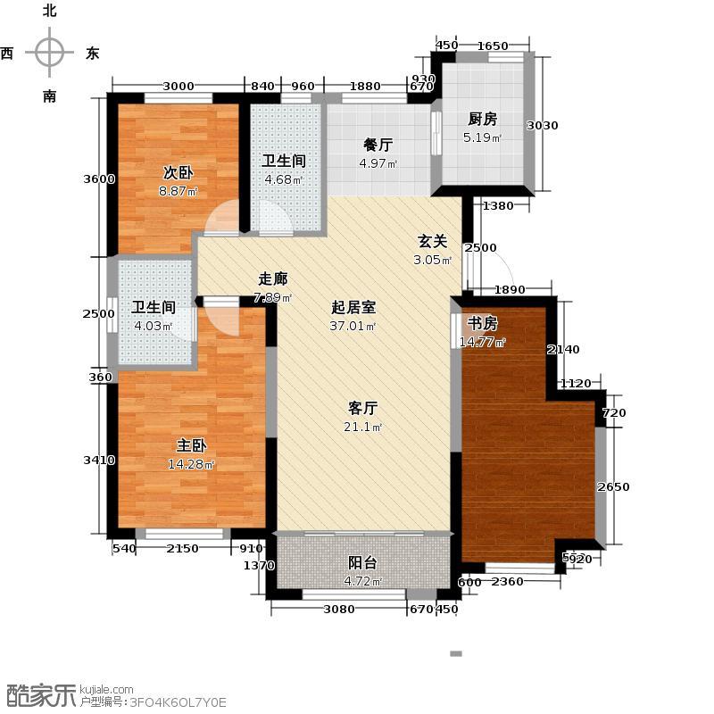 海昌天澜123.00㎡D-B户型3室2厅2卫