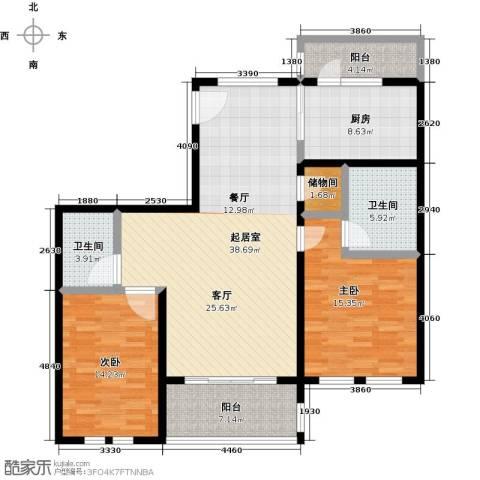 绿地大溪地2室0厅2卫1厨116.00㎡户型图