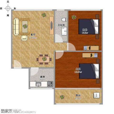 逸东花园2室1厅1卫1厨94.00㎡户型图