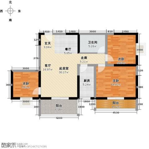 东城�景3室0厅1卫1厨118.00㎡户型图