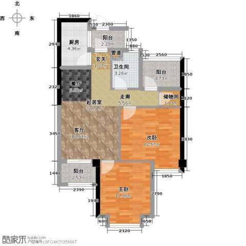 正荣・财富中心2室0厅1卫1厨93.00㎡户型图