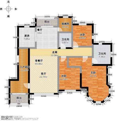 绿地大溪地3室1厅2卫1厨157.00㎡户型图