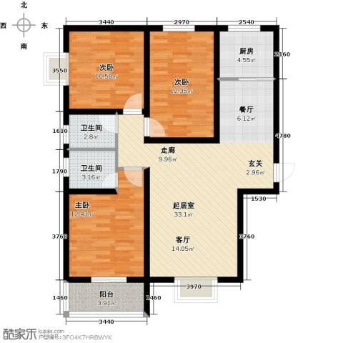 曲江新苑3室0厅2卫1厨119.00㎡户型图