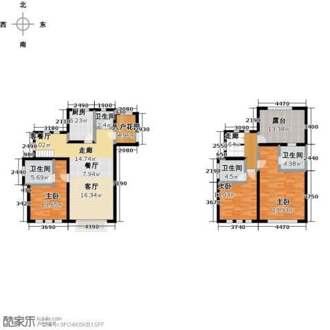 绿地大溪地3室1厅4卫1厨163.00㎡户型图