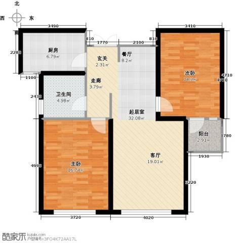 中科苑2室0厅1卫1厨87.00㎡户型图