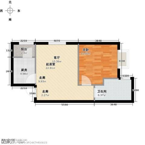 曲江新苑1室0厅1卫1厨69.00㎡户型图